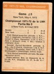 1972 O-Pee-Chee #30   Playoff Game 3 - Bruins / Rangers Back Thumbnail