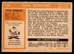 1972 O-Pee-Chee #133  Dave Burrows  Back Thumbnail