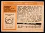 1972 O-Pee-Chee #202  Richard Lemieux  Back Thumbnail