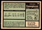 1971 O-Pee-Chee #190  Sheldon Kannegiesser  Back Thumbnail