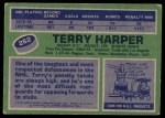 1976 Topps #262  Terry Harper  Back Thumbnail