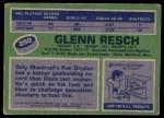 1976 Topps #250  Glenn Resch  Back Thumbnail
