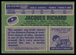 1976 Topps #8  Jacques Richard  Back Thumbnail