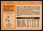 1972 O-Pee-Chee #130  Bert Marshall  Back Thumbnail
