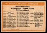 1972 O-Pee-Chee #155   Vezina Trophy Winners Back Thumbnail