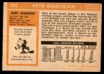 1972 O-Pee-Chee #124  Peter Mahovlich  Back Thumbnail