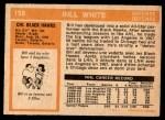 1972 O-Pee-Chee #158  Bill White  Back Thumbnail