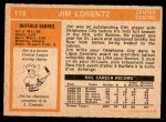 1972 O-Pee-Chee #116  Jim Lorentz  Back Thumbnail