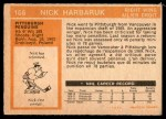 1972 O-Pee-Chee #106  Nick Harbaruk  Back Thumbnail