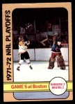 1972 O-Pee-Chee #54   Playoff Game 5  - Bruins / Rangers Front Thumbnail