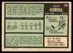 1971 O-Pee-Chee #209  Cliff Koroll  Back Thumbnail