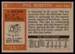 1972 Topps #52  Phil Roberto  Back Thumbnail