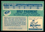 1976 O-Pee-Chee NHL #37  Wilf Paiement  Back Thumbnail