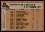 1975 Topps #97   Canucks Team Checklist Back Thumbnail