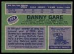 1976 Topps #222  Danny Gare  Back Thumbnail