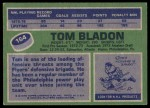 1976 Topps #164  Tom Bladon  Back Thumbnail