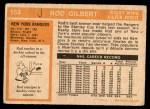 1972 O-Pee-Chee #153  Rod Gilbert  Back Thumbnail