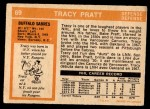 1972 O-Pee-Chee #69  Tracy Pratt  Back Thumbnail