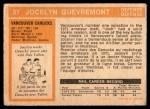 1972 O-Pee-Chee #37  Jocelyn Guevremont  Back Thumbnail