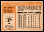 1972 O-Pee-Chee #102  Frank Mahovlich  Back Thumbnail