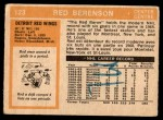 1972 O-Pee-Chee #123  Red Berenson  Back Thumbnail