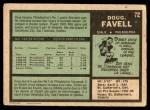 1971 O-Pee-Chee #72  Doug Favell  Back Thumbnail