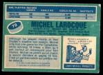 1976 O-Pee-Chee NHL #79  Michel Larocque  Back Thumbnail