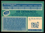 1976 O-Pee-Chee NHL #374  Ab DeMarco  Back Thumbnail