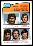 1976 O-Pee-Chee NHL #395   -  Dennis Ververgaert / Chris Oddleifson / Dennis Kearns / Harold Snepsts Canucks Leaders Front Thumbnail