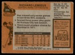 1975 Topps #274  Richard Lemieux   Back Thumbnail