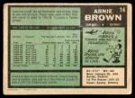 1971 O-Pee-Chee #14  Arnie Brown  Back Thumbnail