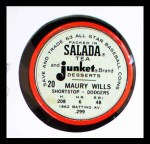 1963 Salada Metal Coins #20  Maury Wills  Back Thumbnail
