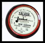 1963 Salada Metal Coins #3  Bob Gibson  Back Thumbnail