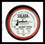 1963 Salada Metal Coins #13  Orlando Cepeda  Back Thumbnail