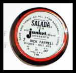 1963 Salada Metal Coins #2  Dick Farrell  Back Thumbnail