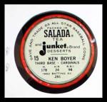 1963 Salada Metal Coins #15  Ken Boyer  Back Thumbnail