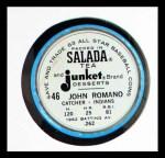 1963 Salada Metal Coins #46  John Romano  Back Thumbnail
