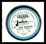 1963 Salada Metal Coins #41  Ken McBride  Back Thumbnail