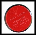 1959 Armour Coins #1 RED  Hank Aaron  Back Thumbnail