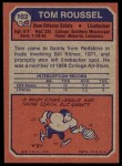 1973 Topps #102  Tom Roussel  Back Thumbnail