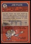 1973 Topps #49  Jim Files  Back Thumbnail