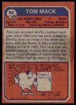 1973 Topps #90  Tom Mack  Back Thumbnail