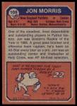 1973 Topps #108  Jon Morris  Back Thumbnail
