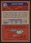 1973 Topps #115  Jack Ham   Back Thumbnail