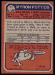 1973 Topps #71  Myron Pottios  Back Thumbnail