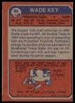1973 Topps #86  Wade Key  Back Thumbnail