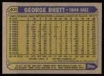 1987 Topps #400  George Brett  Back Thumbnail