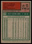 1975 Topps #545  Billy Williams  Back Thumbnail