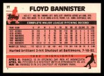 1983 Topps Traded #7 T Floyd Bannister  Back Thumbnail