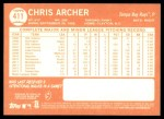 2013 Topps Heritage #411  Chris Archer  Back Thumbnail